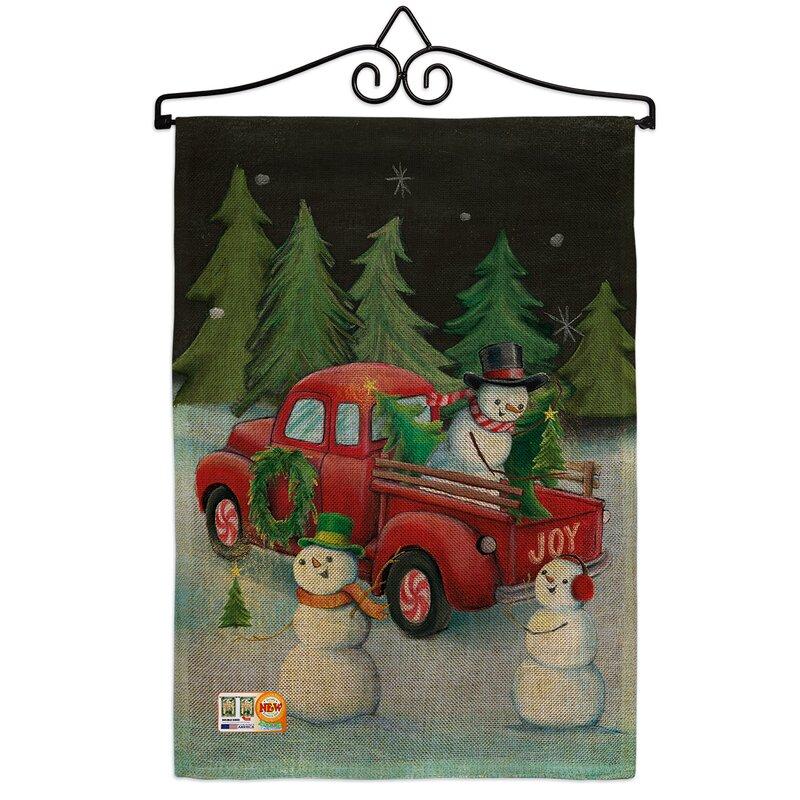 Breeze Decor Picking Christmas Tree Winter Impressions 2 Sided Burlap 19 X 13 In Garden Flag Wayfair