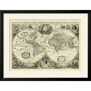 Gold foil world map wayfair vintage world map framed graphic art print gumiabroncs Choice Image