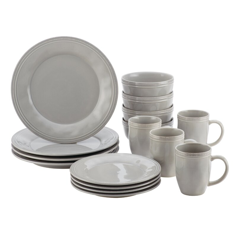 Sea Salt Gray Cucina 16 Piece Dinnerware Set, Service for 4