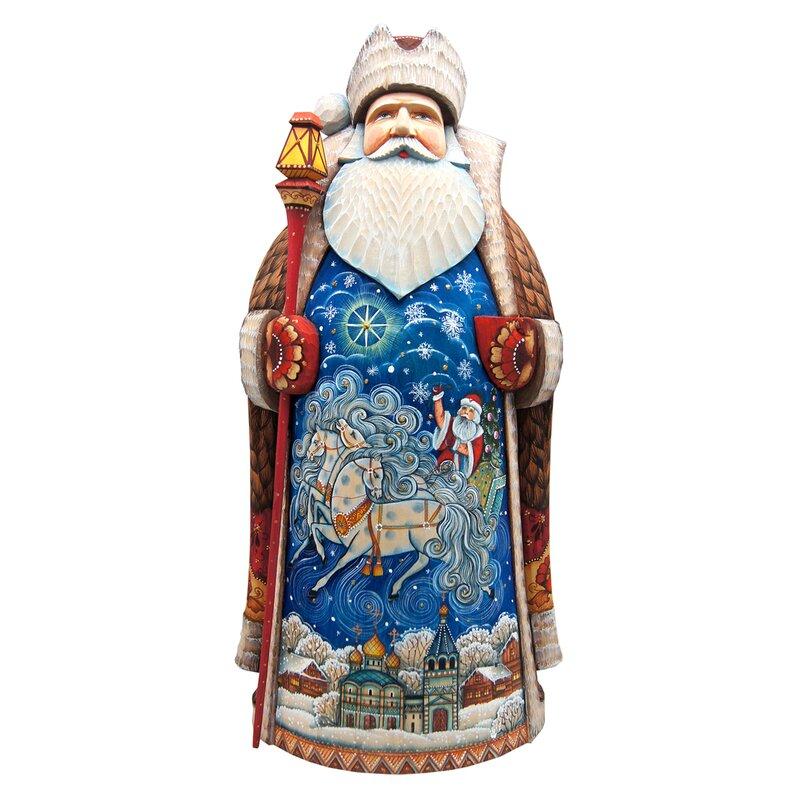 G Debrekht Winter Sleigh Ride In Santa Figurine Signature Masterpiece Woodcarving Wayfair