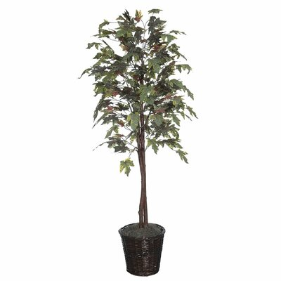 Alcott Hill Economy Artificial Potted Natural Frosted Maple Tree in Basket