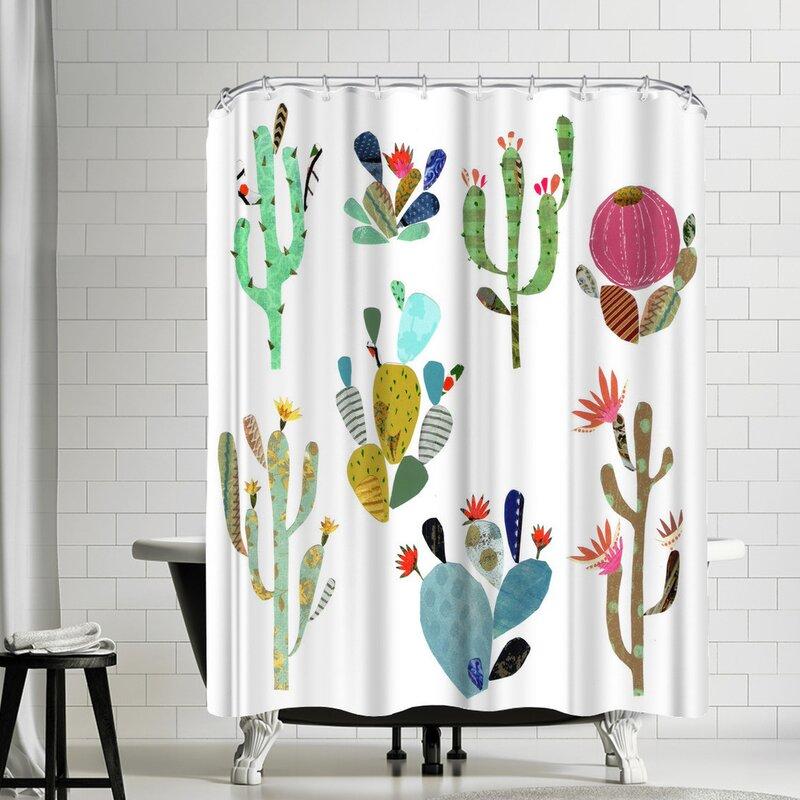 East Urban Home Liz And Kate Pope Cactus Art Shower Curtain Wayfair