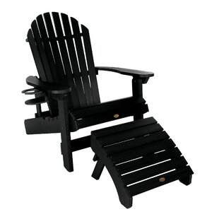 King Hamilton Plastic Folding and Reclining Adirondack Chair with Ottoman and Cupholder