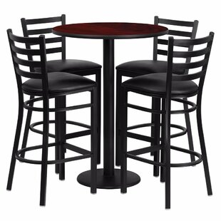 Alvarez Round Laminate 5 Piece Ladder Back Pub Table Set by Red Barrel Studio