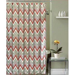 Mirtha Chevron Canvas Fabric Single Shower Curtain