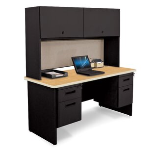 Crivello Door and Lock Computer Desk with Hutch