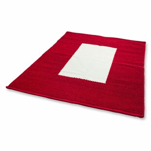 Comparison Border Modern Hand-Loomed Red/White Area Rug By Novica
