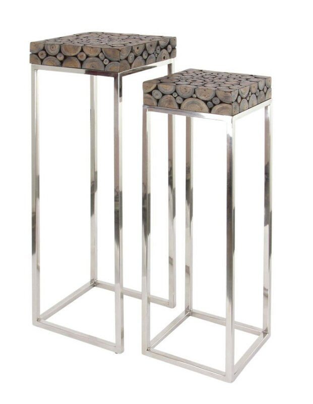 Attractive Stainless Steel Wood 2 Piece Plant Stand Set  sc 1 st  Wayfair & Benzara Attractive Stainless Steel Wood 2 Piece Plant Stand Set ... islam-shia.org