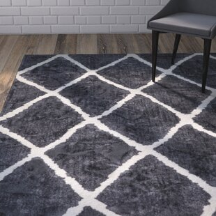 Review Patterson Modern Moroccan Trellis Dark Gray/White Area Rug by Wrought Studio