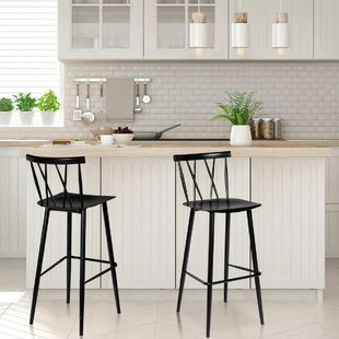 Eustace Cross Back 29.5 Bar Stool (Set of 2)