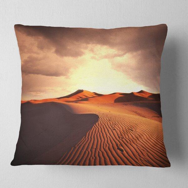 East Urban Home Desert Dunes Under Cloudy Sky Landscape Printed Pillow Wayfair
