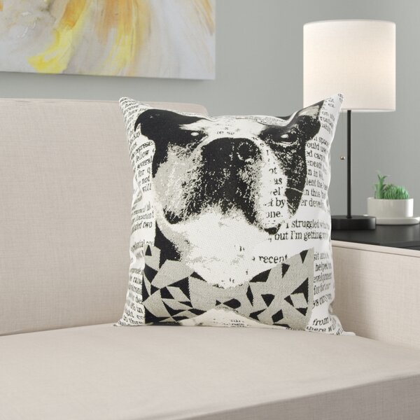 Vintage Script Tapestry Sofa Cushion Cover Pillow Case in Dog Design