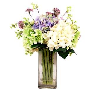 Faux Hydrangea and Lavender Arrangement