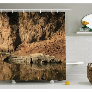 Wildlife Nile Crocodile Swimming in the River Rock Cliffs Tanzania Hunter Geography Shower Curtain Set