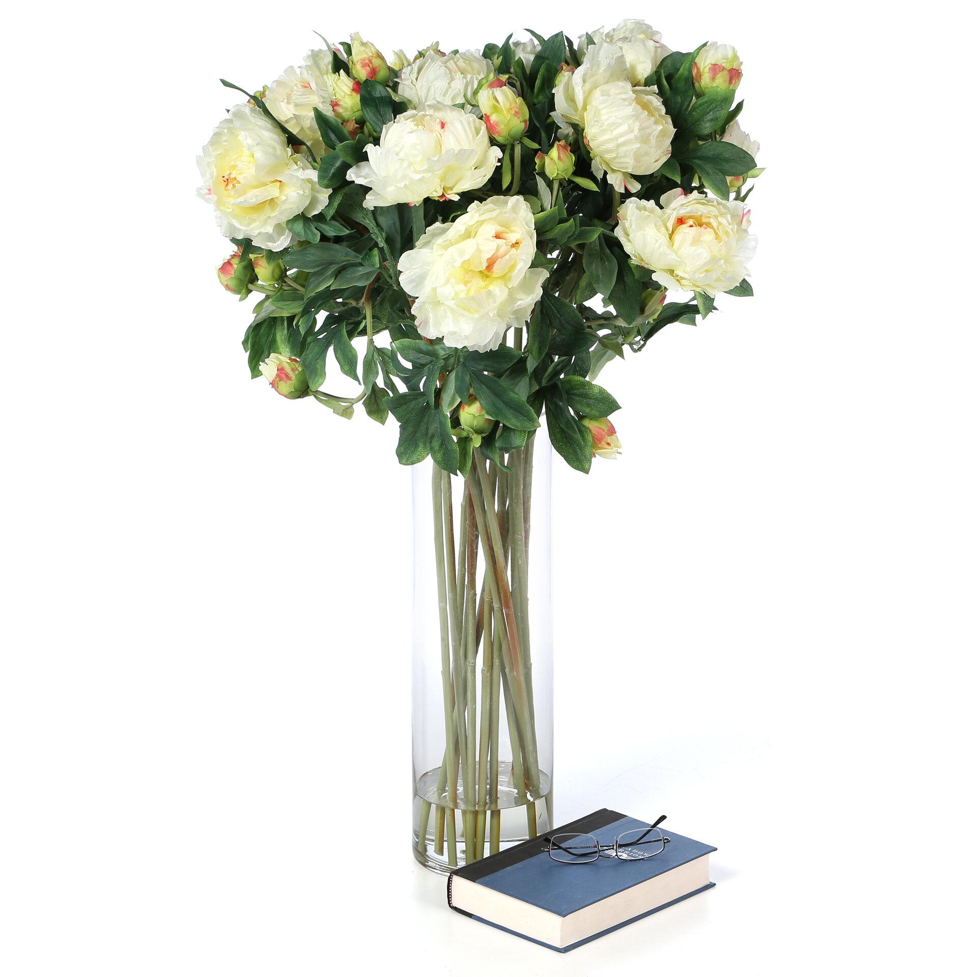 Nearly Natural Giant Peony Silk Flower Arrangement In White Wayfair