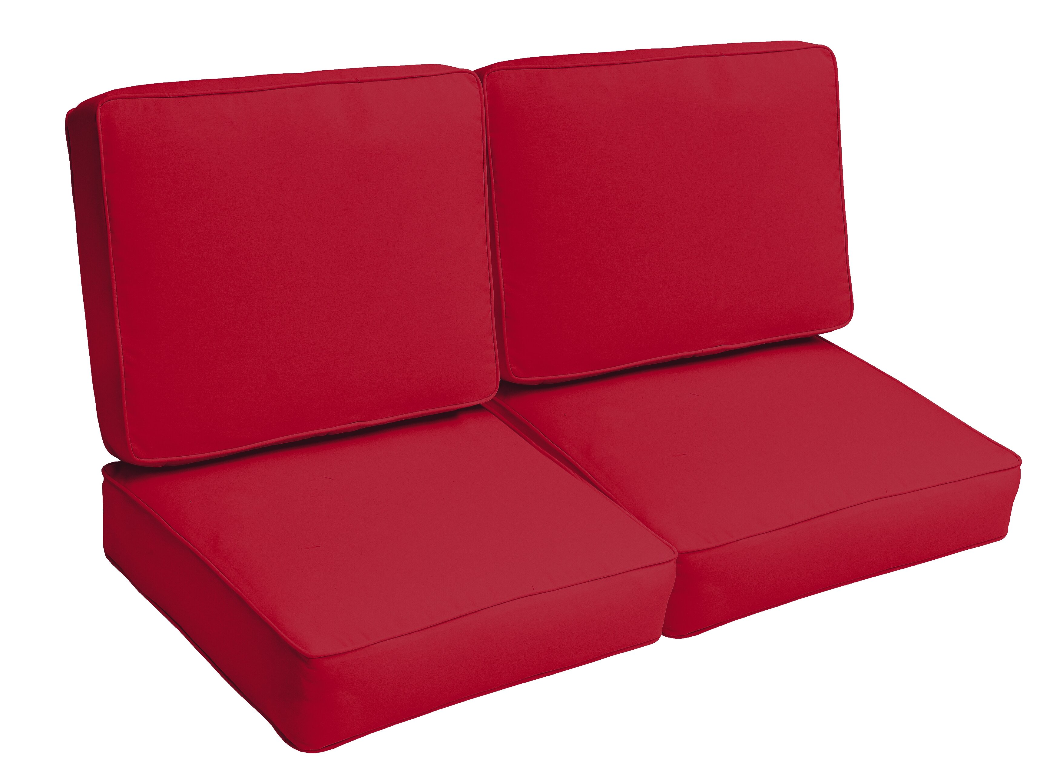 Red Barrel Studio Crimson Piped 4 Piece Indoor Outdoor Loveseat Cushion Set Wayfair