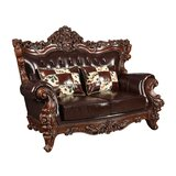 70.75 Wide Faux Leather Rolled Arm Loveseat by Benjara
