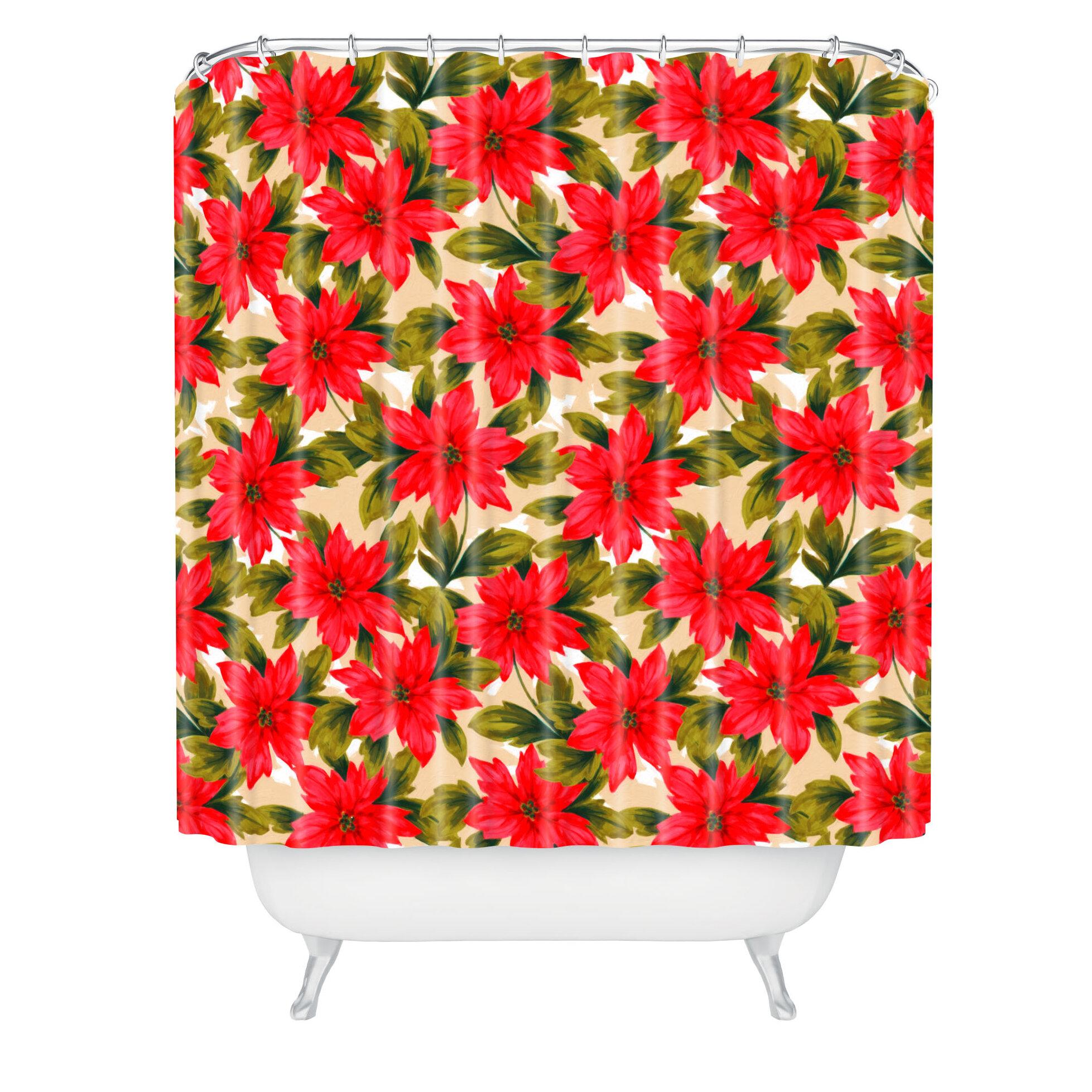 The Holiday Aisle Jade Poinsettia Shower Curtain U0026 Reviews | Wayfair