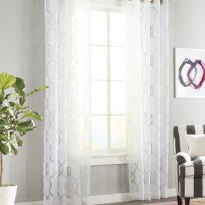 Britain Geometric Sheer Grommet Curtain Panels (Set of 2)