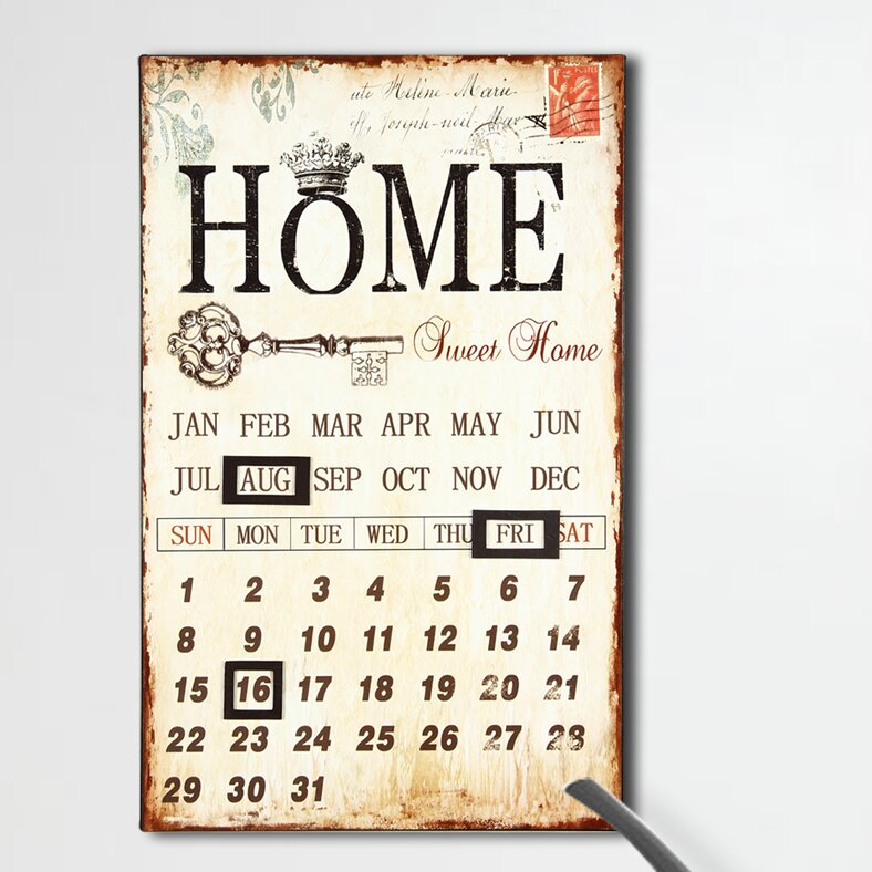 AdecoTrading Inspired Iron Wall Sign Calendar \