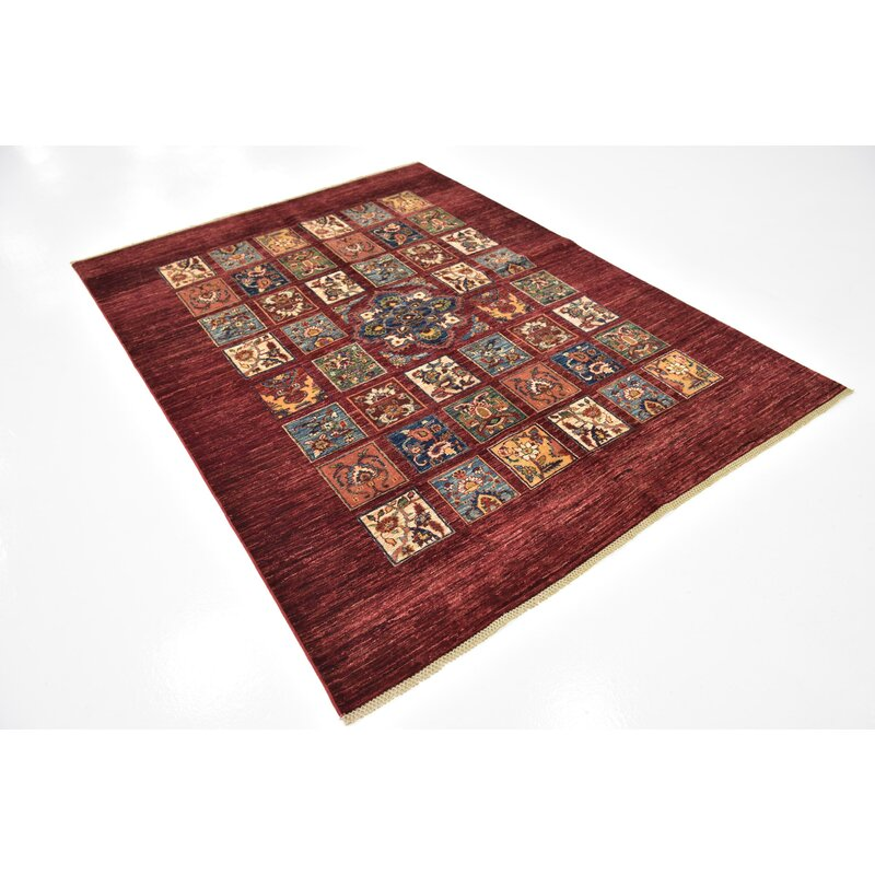 """Isabelline One-of-a-Kind Denver Hand-Knotted Maroon 5'6"""" x 7'4"""" Wool Area  Rug 
