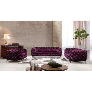 Mercer41 Forslund 3 Piece Living Room Set