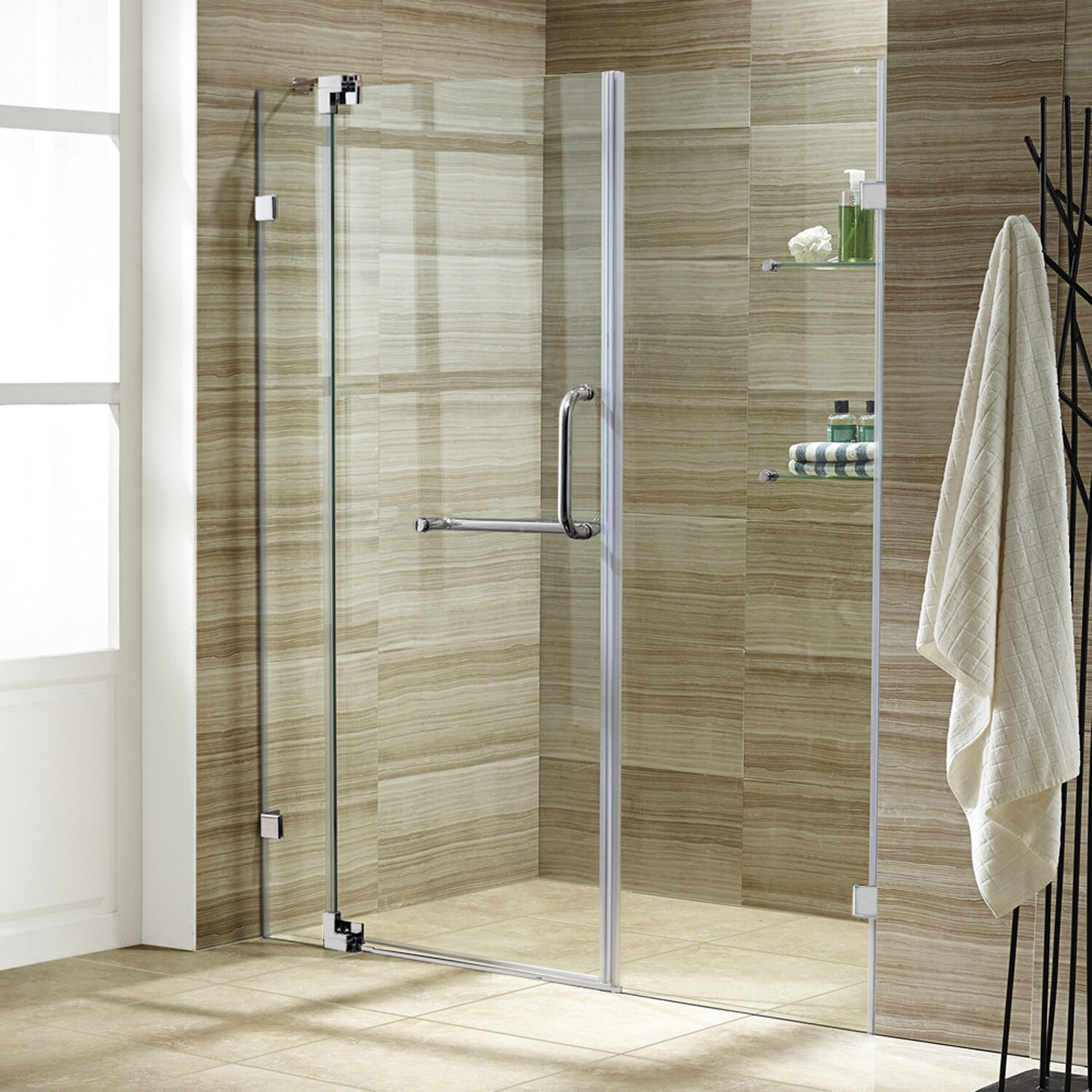 Pirouette 48 X 72 Pivot Frameless Shower Door With Flex Sizing Technology