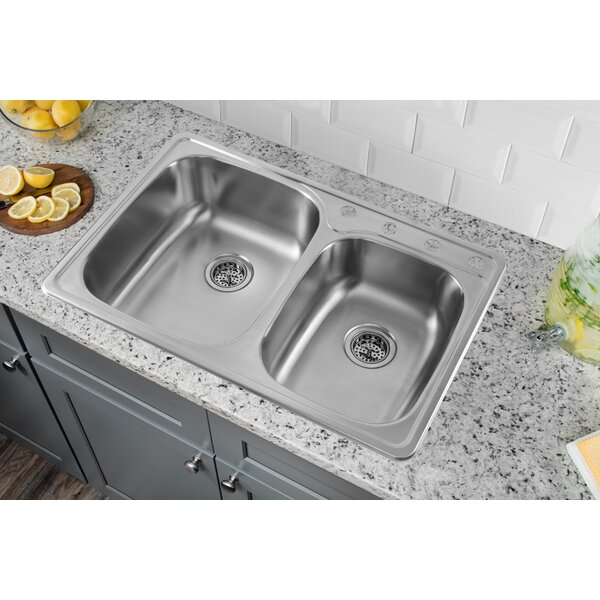 "soleil 33"" x 22"" stainless steel drop in double bowl kitchen sink"
