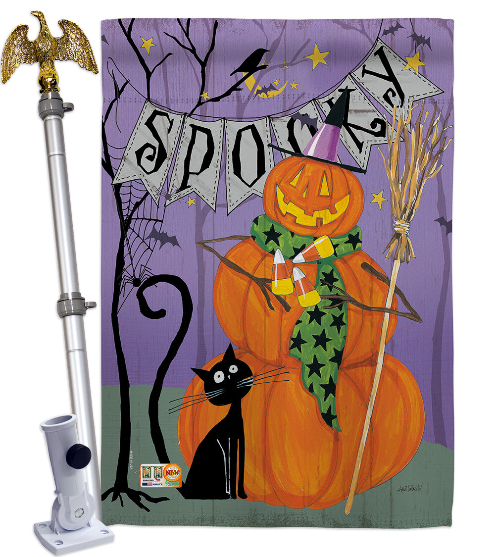 Breeze Decor Spooky Pumpkin Men 2 Sided Polyester 40 X 28 In Flag Set Wayfair