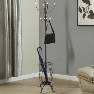 Adeco Trading Iron Coat Hanging Rack with Umbrella Stand and Storage Tipped Scroll Design