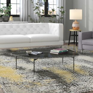 Brayden Studio Asterope Large Coffee Table with Marble and Iron Legs