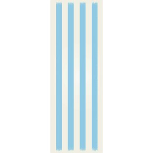 Price comparison Cropper Strips Design Light Blue/White Indoor/Outdoor Area Rug By Breakwater Bay