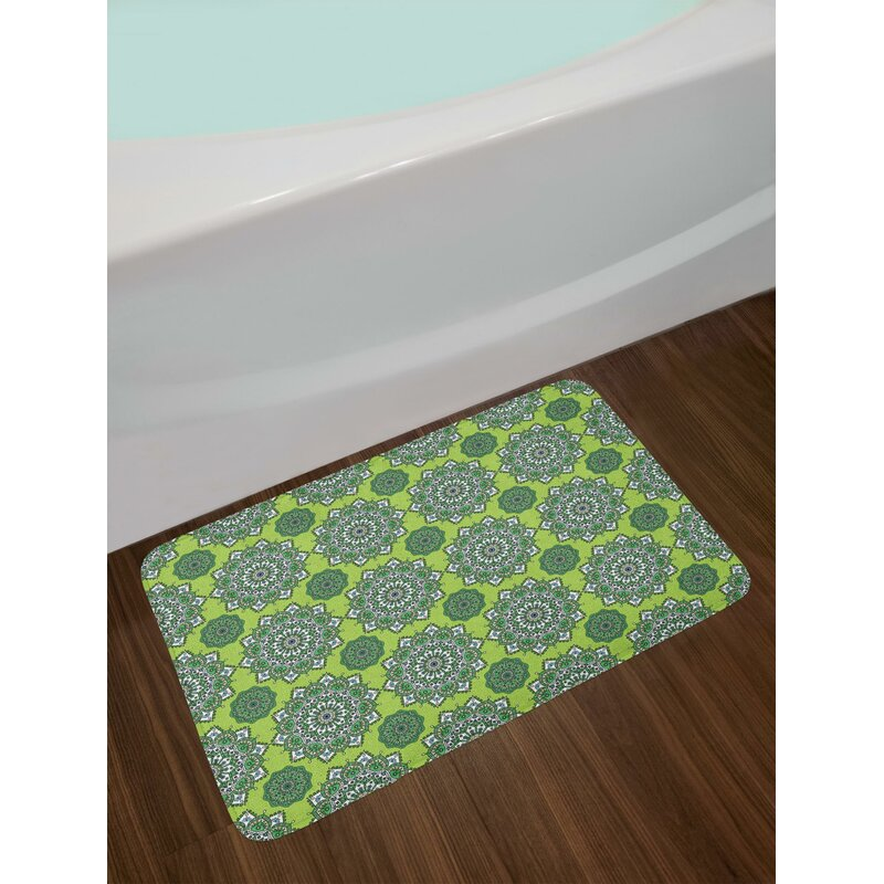Ordinaire Arabesque Lime Green Bath Rug