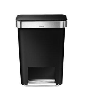 Plastic 11.9 Gallon Step On Trash Can