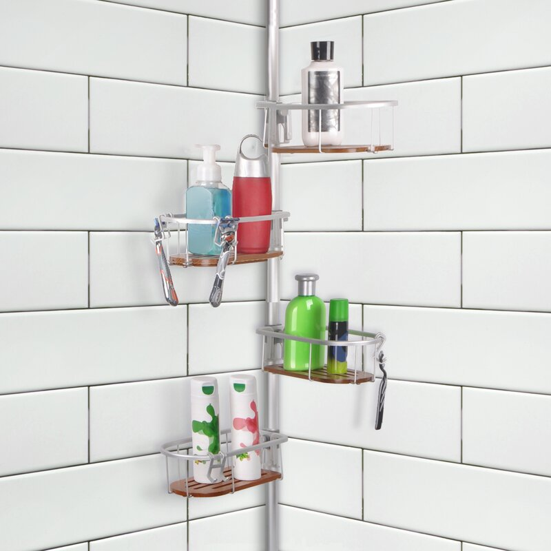 UtopiaAlley Teak Tension Rustproof Shower Caddy & Reviews | Wayfair