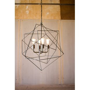Wrought Studio Nickelson Triple Wire Cube 4-Light Geometric Pendant