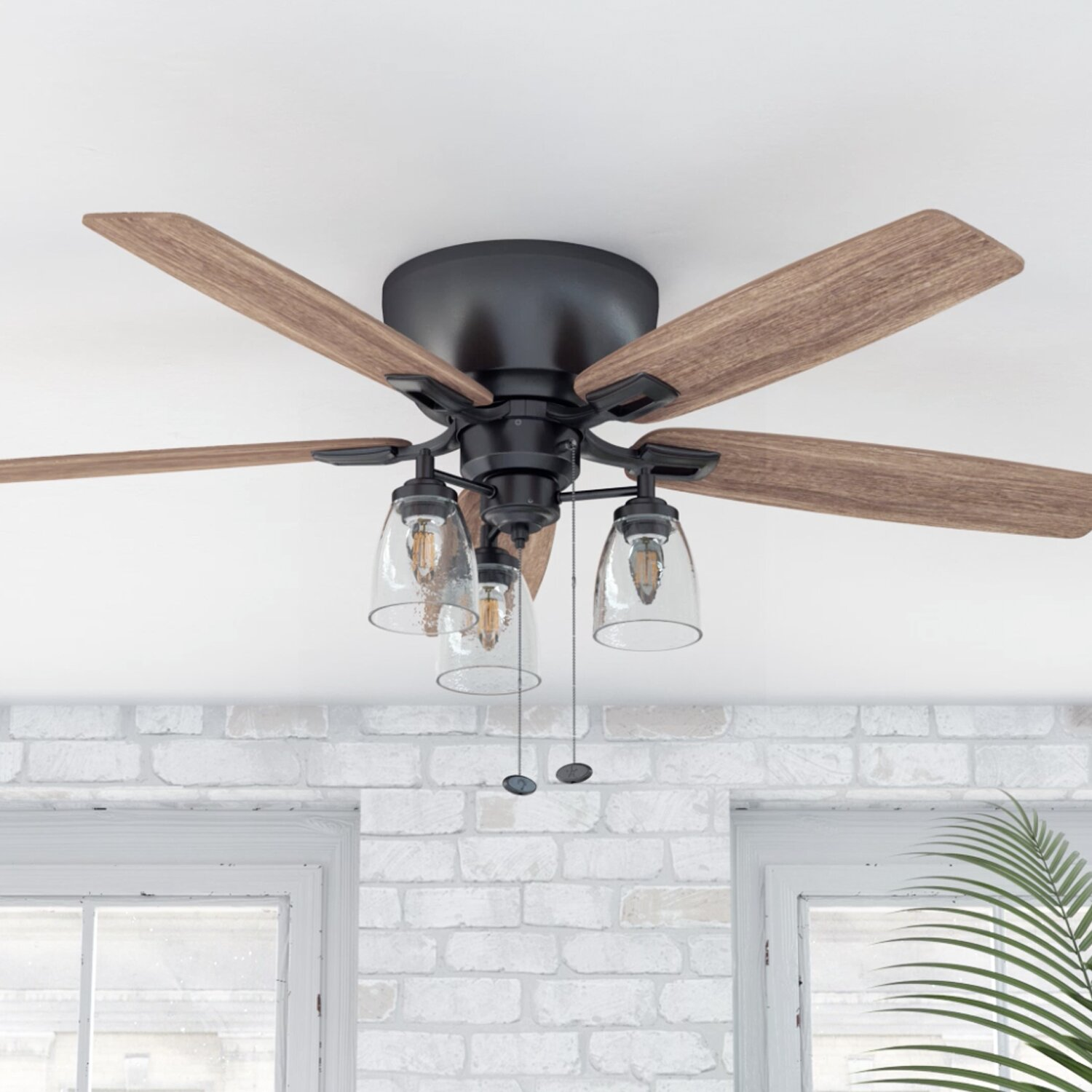 Calcutta 52 Arthur 5 Blade Flush Mount Ceiling Fan With Pull Chain And Light Kit Included Reviews Wayfair