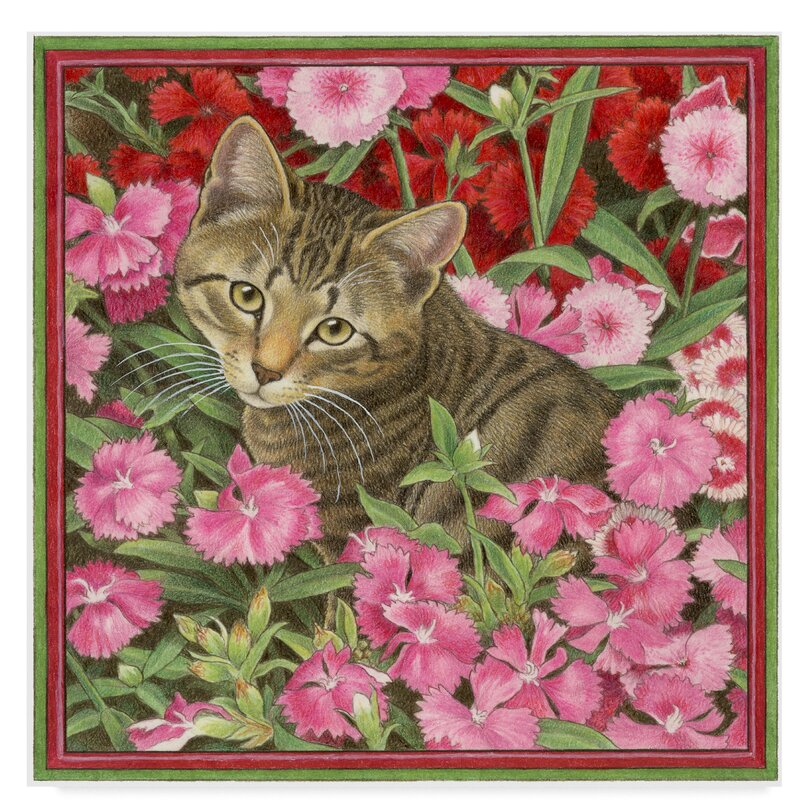 Trademark Art Cats In Pink Flowers Acrylic Painting Print On Wrapped Canvas Wayfair