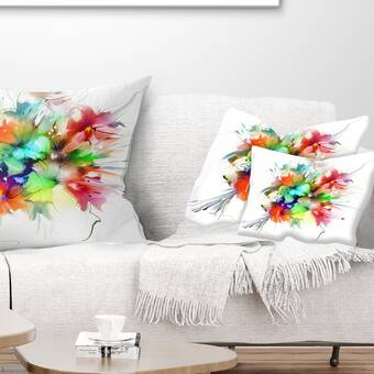 Latitude Run Stewie Floral Print Throw Pillow Wayfair