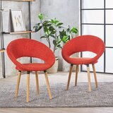 Glastonbury Fabric Modern Upholstered Dining Chair (Set of 2) by George Oliver