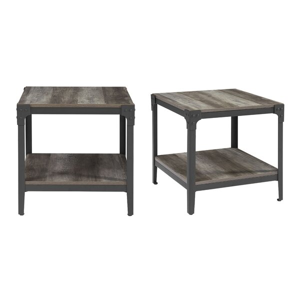 Oak Trendy White Desk Concepts Wood And Rod Iron End Tables | Wayfair