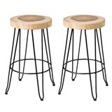 "Aramingo 30"" Teak Patio Bar Stool (Set of 2)"
