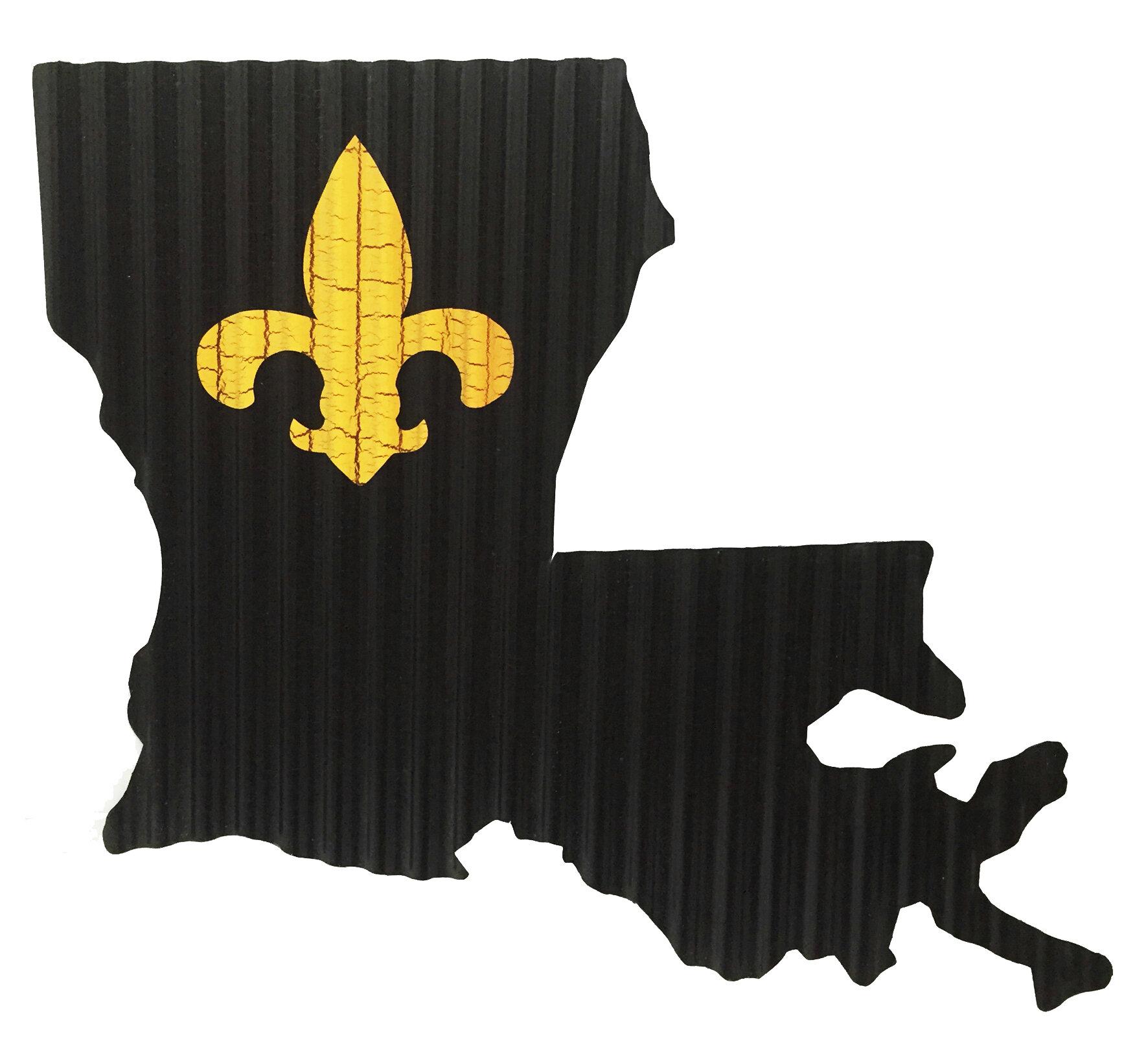 Ebern Designs Crackled Fleur De Lis Louisiana State Map Wall Decor Wayfair