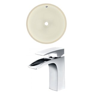 Comparison Ceramic Circular Undermount Bathroom Sink with Faucet and Overflow By American Imaginations