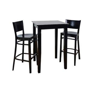 Calina Wood Seat 3 Piece Pub Table Set