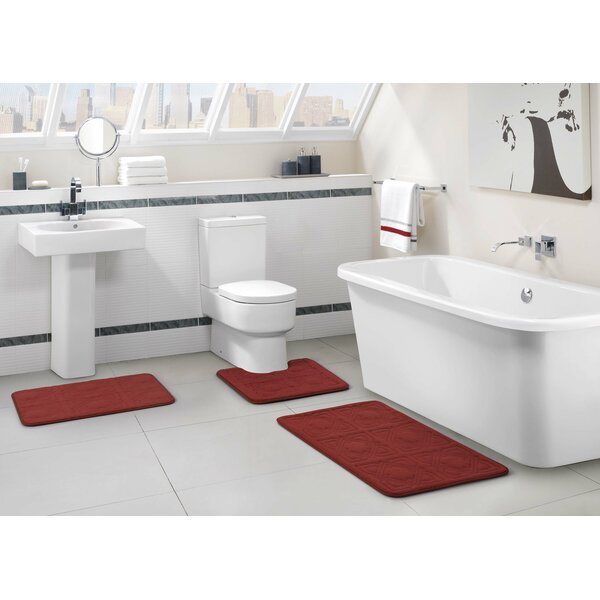 Black Bathroom Rug Sets Part - 15: VCNY Byzantine 3 Piece Memory Foam Embossed Black Bath Rug Set u0026 Reviews |  Wayfair