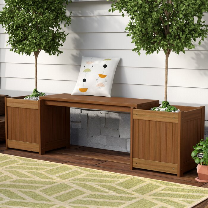 Langley Street Arianna Rectangular Wooden Planter Bench