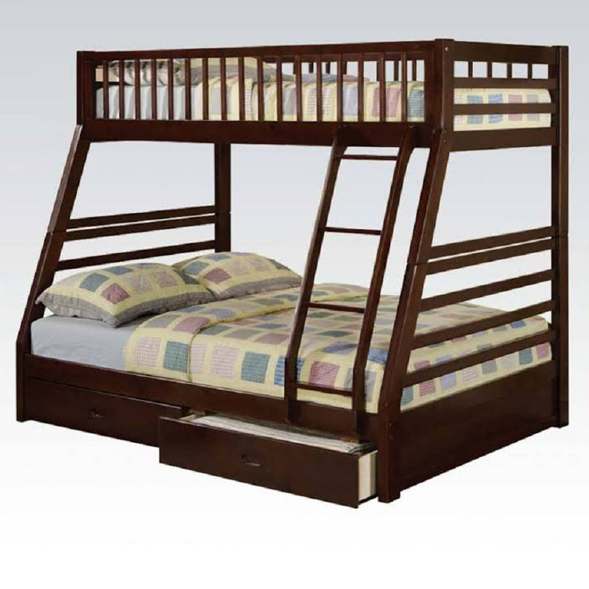 Harriet Bee Parsegh Twin Over Full Bunk Bed With 2 Drawers Wayfair