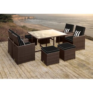 Stella II Patio Rattan 9 Piece Dining Set with Cushions and Square Toss Pillows