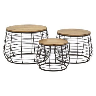 Isabeau Metal / Wood 3 Piece Nesting Tables by 17 Stories Savings